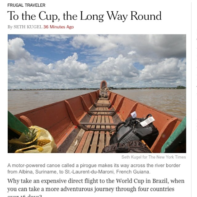 Hot off the digital presses on www.nytimes.com/travel: a video and article about my route to the #worldcup #worldcup2014 #brazil2014 #copadomundo #whateveryouwanttocallit